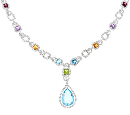 "Judith Ripka Sterling 22.00 cttw Gemstone 20"" Y Necklace"