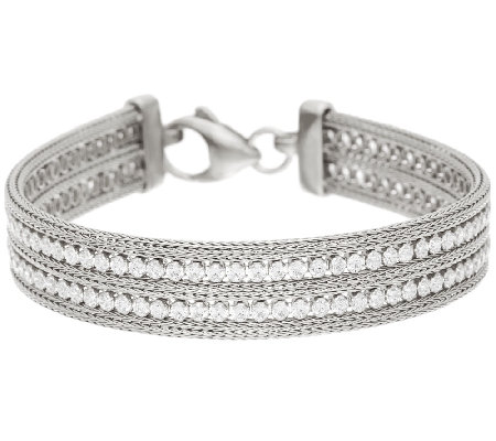 "Vicenza Silver Sterling 7-1/4"" Double Row Crystal Mesh Bracelet, 15.9g"