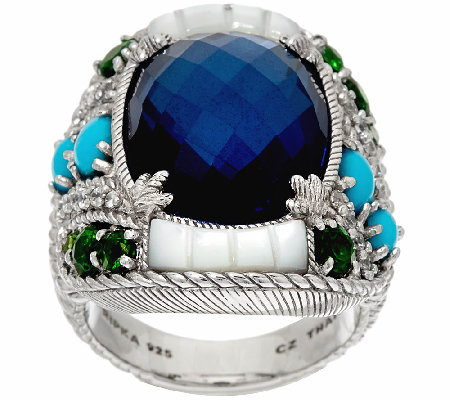 Judith Ripka Sterling Multi-Gemstone & Diamonique Ring