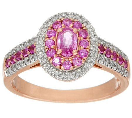 0.50 ct tw Pink Sapphire & 1/7 ct tw Diamond Ring 14K Gold