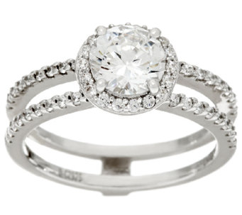 Diamonique Bridal Double Row Ring, Sterling - J326442