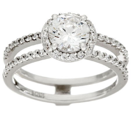 Diamonique Bridal Double Row Ring, Sterling