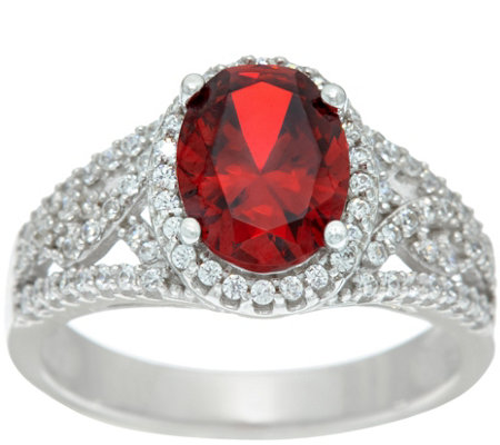 Diamonique Simulated Oval Garnet Ring, Platinum Clad