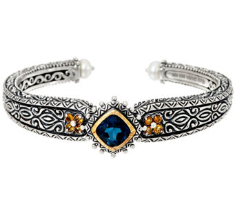 Barbara Bixby Sterling & 18K London Blue Topaz Cuff Bracelet - J329142