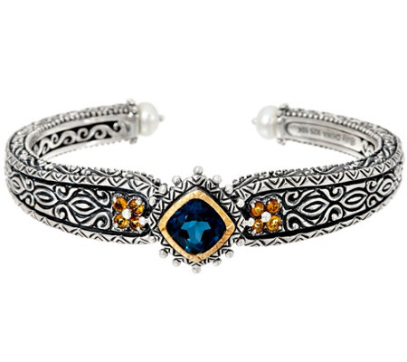 Barbara Bixby Sterling & 18K London Blue Topaz Cuff Bracelet