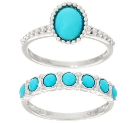 Sleeping Beauty Turquoise Sterling Silver Ring and Band Ring