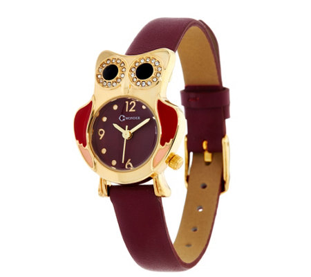 C. Wonder Owl Motif Leather Strap Watch