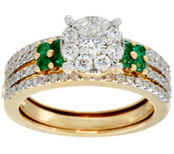 Cluster Design Diamond & Emerald Ring 14K, 1.00 cttw, by Affinity - J329942