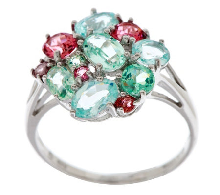 """As Is"" 2.30 ct tw Colors of Tourmaline Cluster Design Ring, 14K"
