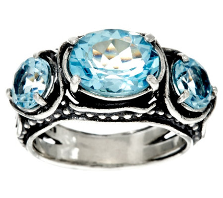 Sterling Silver 3-Stone Gemstone Ring by Or Paz 3.50 cts