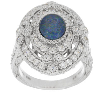 """As Is"" Judith Ripka Sterling Opal Triplet and 2.05cttw Diamonique Ring - J330342"