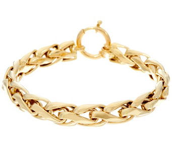 "14K Gold 7-1/4"" Polished Woven Wheat Bracelet, 9.5g - J330442"