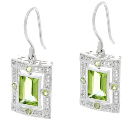 Jane Taylor Emerald Cut Gemstone Sterling Drop Earrings