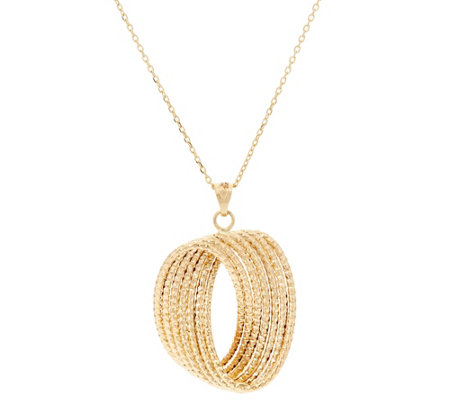 "14K Gold 18"" Textured Twisted Hoop Pendant with Chain, 3.6g"