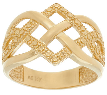 14K Gold Polished and Diamond Cut Celtic Knot Design Ring