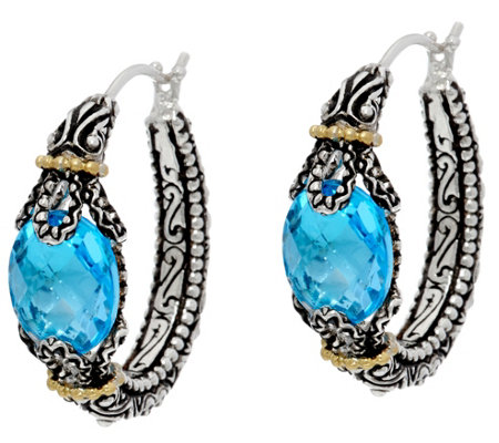 Barbara Bixby Sterling & 18K 5.00 cttw Blue Topaz Hoop Earrings