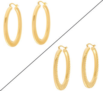 "Bronze 2"" Oval Hoop Earrings by Bronzo Italia - J332942"