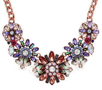 """As Is"" Joan Rivers Pastel Crystal Blossom Statment Necklace - J333042"