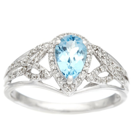 """As Is"" Santa Maria Aquamarine & Diamond Ring 14K, 0.60 ct"