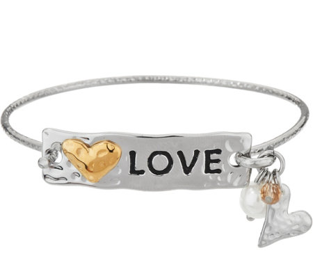 Stainless Steel Inspirational Multi-Charm Message Hinges Bangle