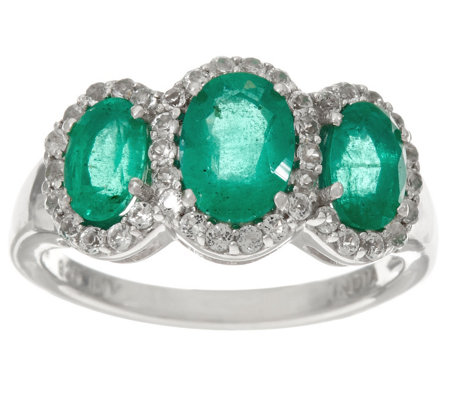 Precious Gemstone & White Topaz 3-Stone Sterling Ring