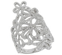Floral Design White Diamond Ring, Sterling, 1/3 cttw, by Affinity - J346442