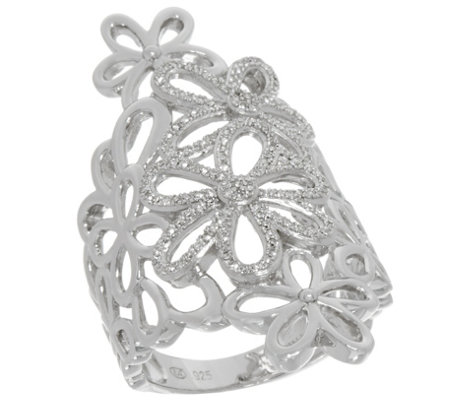 Floral Design White Diamond Ring, Sterling, 1/3 cttw, by Affinity