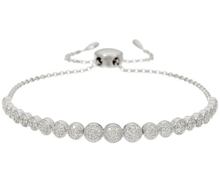 Pave' White Diamond Adjustable Bracelet, Ster. by Affinity