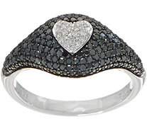 Black Diamond Pave Shield Ring, Sterling, 1/2 cttw, by Affinity - J352042