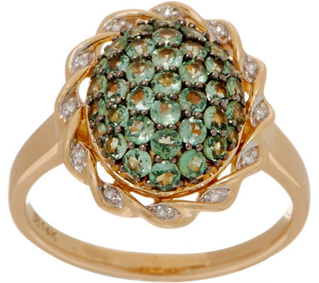 Alexandrite Cluster and Diamond Ring, 14K, 1.00 cttw