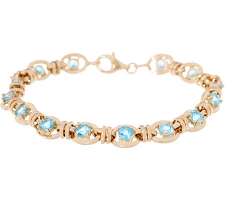 "14K Gold 6-3/4"" Gemstone Station Bracelet"