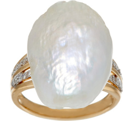 """As Is"" 14K Gold & Diamond Ring w/American Cultured Pearl"