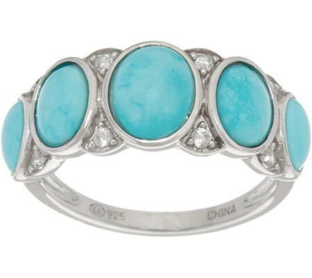 """As Is"" Sleeping Beauty Turquoise Oval 5-Stone Sterling Ring"
