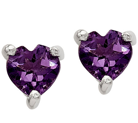 Sterling Heart Gemstone Stud Post Earrings