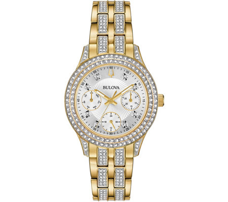 Bulova Women's Goldtone Swarovski Crystal Subdial Watch
