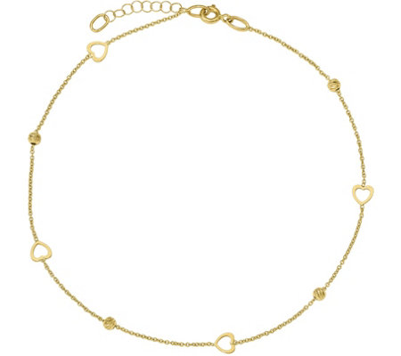 14K Gold Heart & Bead Anklet, 1.5g