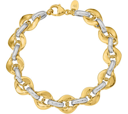 14K Gold Two-tone Interlocking Link Bracelet, 9.4g