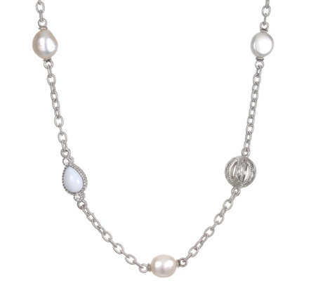 Judith Ripka Sterling Cultured Pearl & White Agate Necklace
