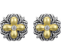Barbara Bixby Sterling & 18K Gold Flower ButtonEarrings - J380442