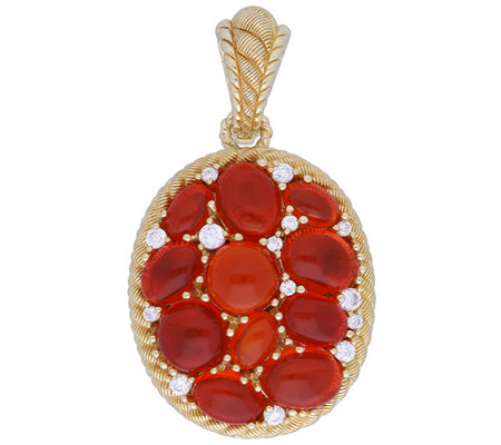 Judith Ripka 14K Clad Fire Opal & Diamonique Enhancer