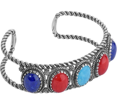 American West Sterling Silver Classics Multi-Gemstone Cuff