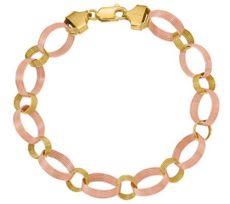 "14K Gold 7-3/4"" Two-Tone Scallop Link Bracelet,4.6g"