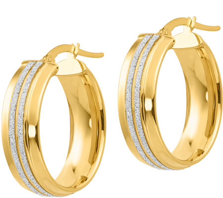 "Italian Gold 1"" Glitter Oval Hoop Earrings, 14K"