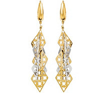 Italian Gold Two-Tone Star Dangle Leverback Earrings 14K, 3.3g - J382242