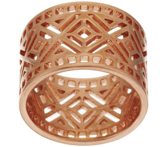 Bronze Art Deco Diamond Shaped Cut-out Band Ring by Bronzo Italia - J278743