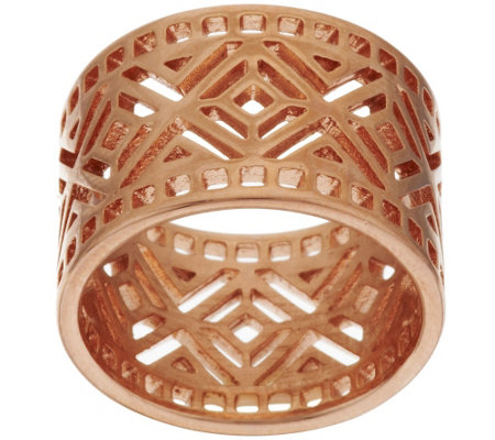 Bronze Art Deco Diamond Shaped Cut-out Band Ring by Bronzo Italia