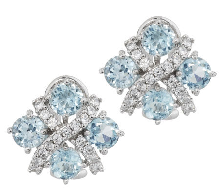 Judith Ripka Sterling 3.80ct Sky Blue Topaz Criss Cross Button Earrings