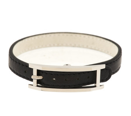 Stainless Steel Leather Bracelet w/ Buckle Closure