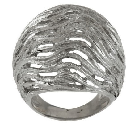 Italian Silver Sterling Textured & Satin Finish Domed Ring