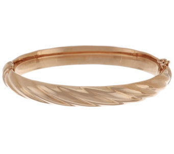 Bronze Large Ribbed Twist Oval Hinged Bangle by Bronzo Italia - J288543